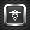Medical Caduceus on Black Square Button